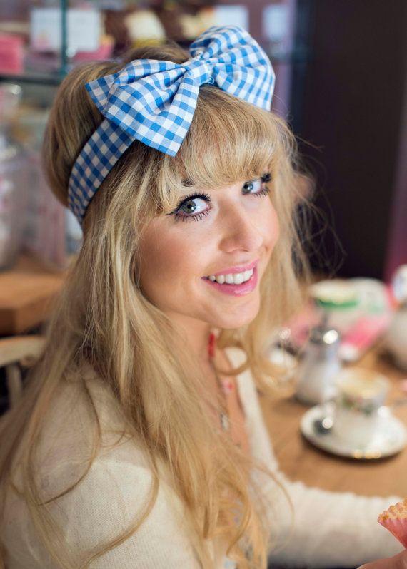 Baby Blue Gingham Bow Headband Dolly Bow Bow Headband by beauxoxo