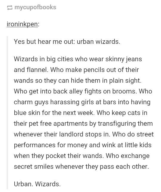 character bank: Urban wizards.