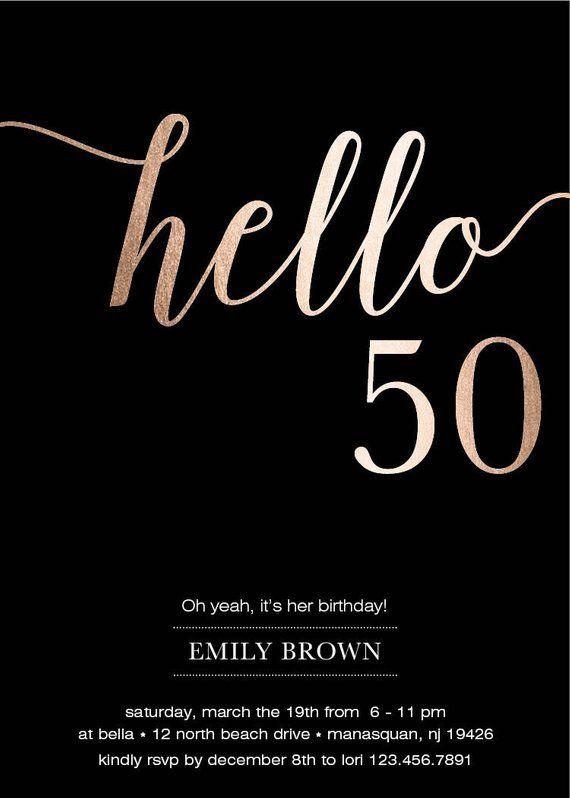 50th Birthday Invitation Modern Faux Gold Foil Hello 50