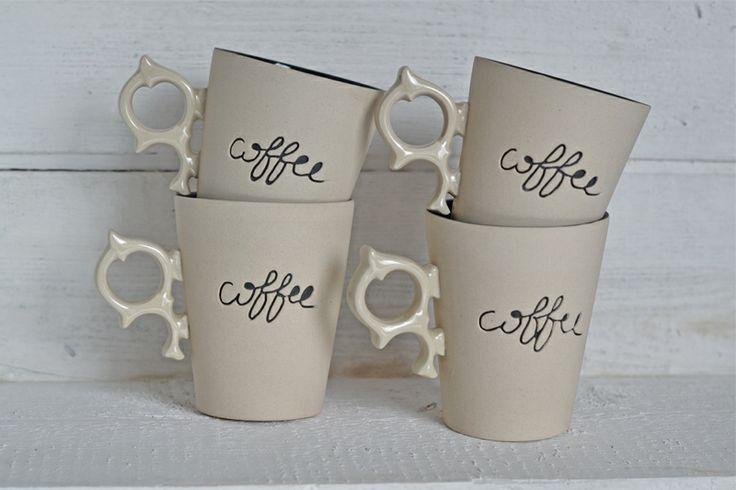 Coffee time - zestaw 4 kubków w COCOceramics na DaWanda.com
