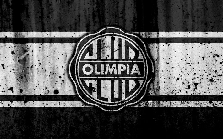 Download wallpapers 4k, FC Olimpia Asuncion, grunge, Paraguayan Primera Division, soccer, football club, Paraguay, Olimpia Asuncion, art, logo, stone texture, Olimpia Asuncion FC