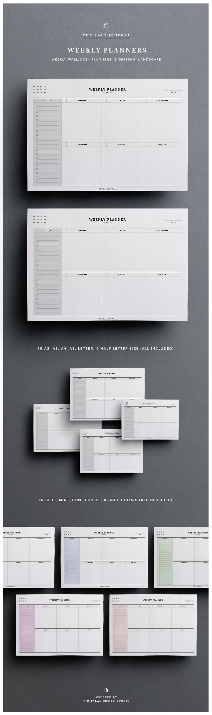 Weekly Planner Printable - This Weekly Planners can be inserted in your favorite planner and are also great on your wall! Undated Weekly Planner, Weekly Agenda, Weekly Organizer, Weekly Planner Pages, Weekly Planner Insert, A5 Weekly, Wall Planner, Desk Planner