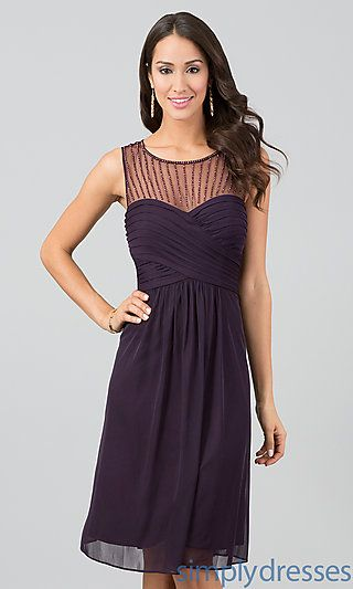 Knee Length Sleeveless Ruched Dress at SimplyDresses.com Cassie wart you think of this
