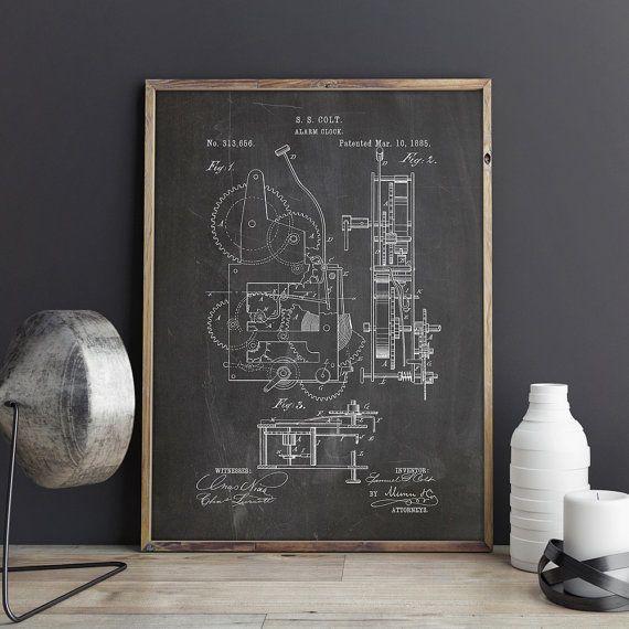 Mechanical Clock Art, Vintage Clock Art, Antique Clock Decor, Wall Clock  Print, Antique Wall Clock, Clock Poster, Patent, INSTANT DOWNLOAD. Starwars  ...