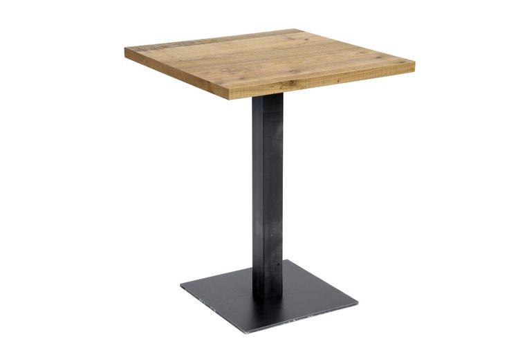 Table 160.Table with black metal base at single column, with an veneered oak sawn surface relief. Tavolo 160.Tavolo con base in metallo nero a colonna singola, piano impiallacciato in rovere segato.