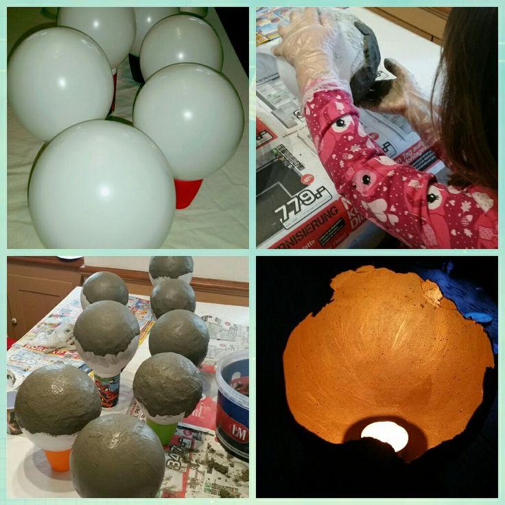 Schale aus Knetbeton erstellt, golden lasiert & mit Kerze bestückt - Kinder waren 5 & 8 Jahre alt