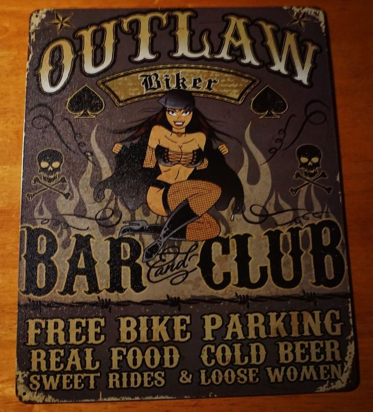 OUTLAW BIKER BAR Pin Up Girl Skull Motorcycle Rider Pub Home Decor Sign - NEW #SignoftheTimes #Cartoon