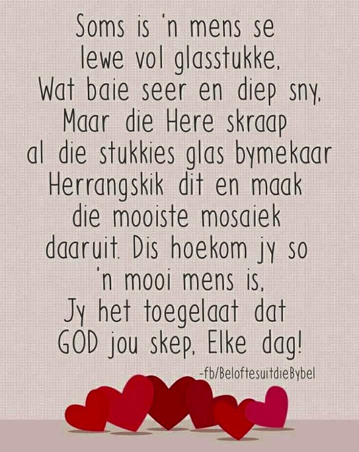 Soms is 'n mens se lewe vol glasstukke...MAAR God... #Afrikaans #Heartaches&Hardships #butGod #Analogies #LifeQuotes