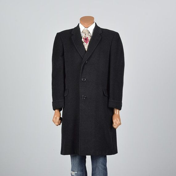 1950s Medium Mens Cashmere Top Coat Overcoat Vintage Menswear Men's Fashion by StyleandSalvageMen