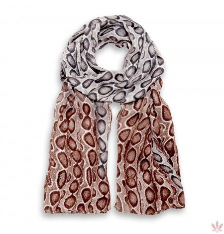 Diani Natural & Taupe Silk Charmesue Stole. Luxury high quality made in Italy by Fulards free shipping.