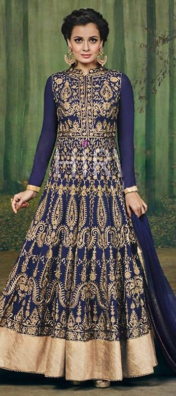 458529 Blue color family Anarkali Suits in Faux Georgette,Net fabric with…