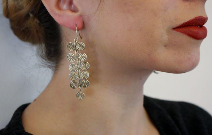 Handmade nickel silver earrings - Greek motif