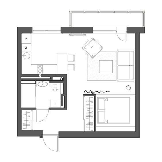 Harpers Square Apartments: Grundriss Der 1 Zimmer Wohnung