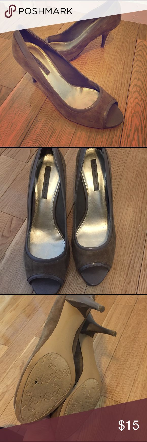 Taupe suede peep toe pumps Good condition peep toes. Super comfy and great for work. Grey-taupe in color. Suede and man made upper. Wear Is shown in pics! Bandolino Shoes Heels