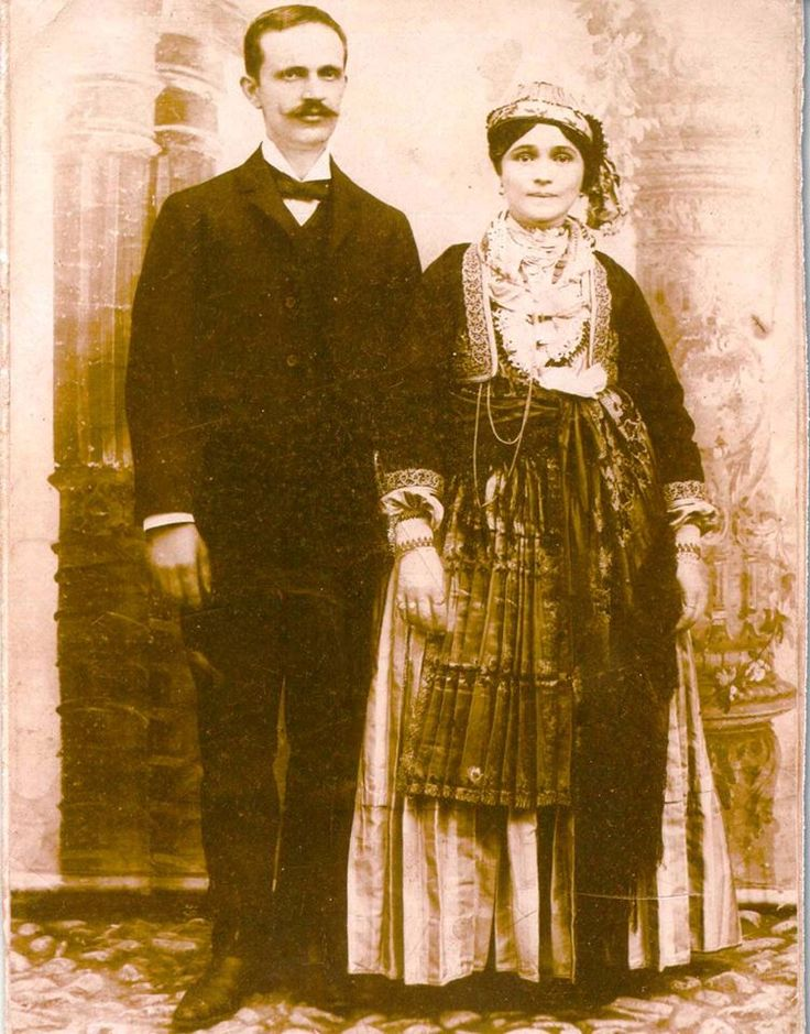 bride's traditional costume from Naousa. Greece. 1913