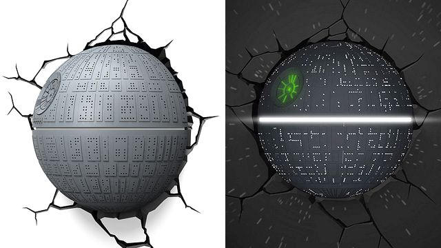 3DlightFX has a new series of Star Wars-themed 3D Deco Lights enroute including this tiny glowing version of the Death Star that appears to be smashing its way through your wall thanks to an included decal surrounding its mount.