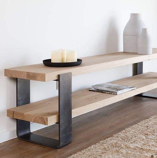 #inspiration #tabledusud #wood #oak #steel #sidetable