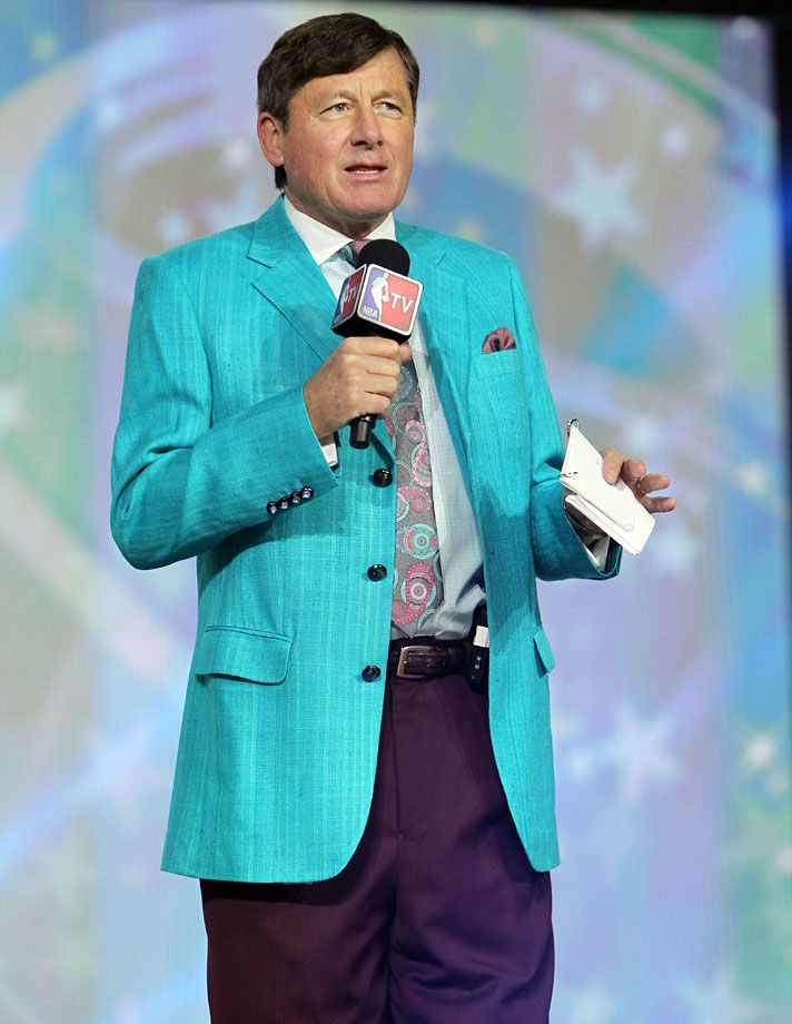 Craig Sager introduces the players during the NBA All-Star Practice on Feb. 16, 2013 at the George R. Brown Convention Center in Houston. Joe Murphy/NBAE via Getty Images