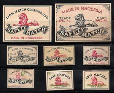 6+2 OLD MATCHBOX LABEL BOX & PACKET SIZE RHODESIA THE LION MATCH CO
