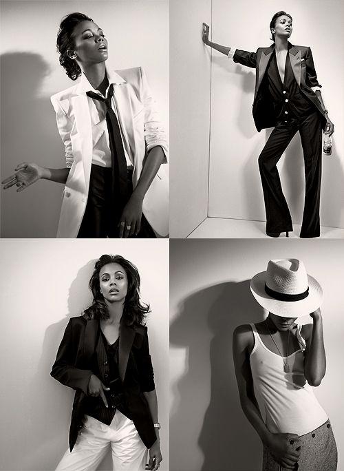 Zoe Saldana for L'Uomo Vogue: Girls Crushes, Celebrity Girls, Style Suits, Dresses Style, Style Crushes, Boyish Style, Zoe Saldana, Beautiful Collage, Saldana Style