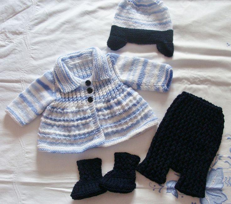 Ensemble Layette bébé tricoté main veste, short, bonnet et chaussons : Mode Bébé par danielaine-tricots-enfants