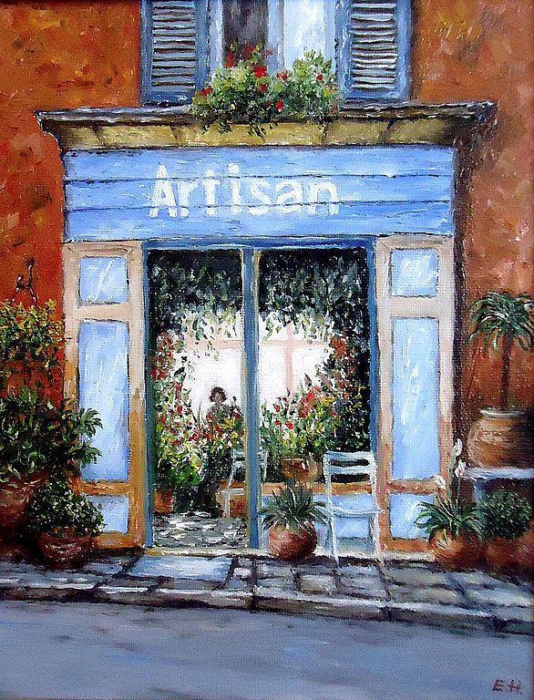Купить Картина маслом Цветочный салон - картина, интерьер, подарок, улочки, город, Франция, Париж