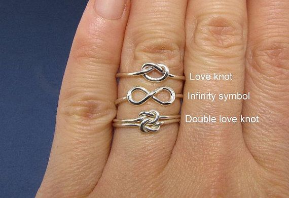 Love knot rings friendship rings sterling silver by TDNCreations, $38.00