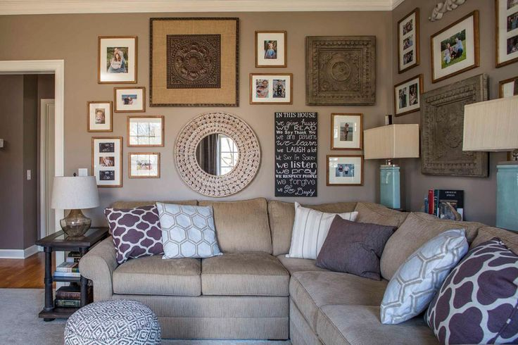 HGTV features a brown family room with two gallery walls, a taupe sectional couch, turquoise base lamps and a diamond patterned floor pouf.