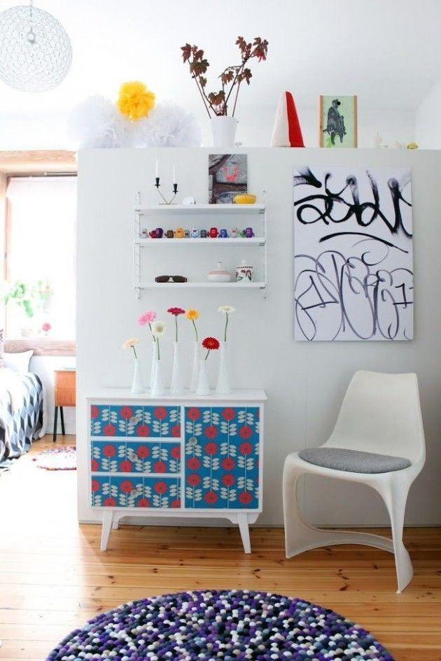 Ausgefallene Möbel Selbst Gestalten Kommode Dekorieren Mit Floralem Muster