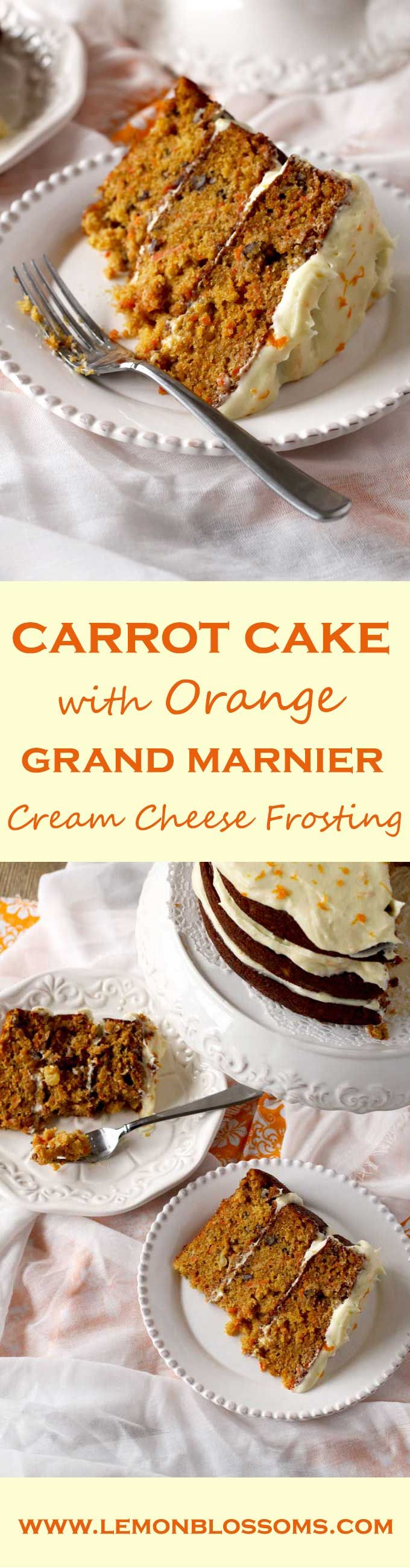 Moist and incredibly flavorful, this Carrot Cake with Orange Grand Marnier Cream Cheese Frosting is delicate and perfectly balanced. The fluffy Orange Grand Marnier Cream Cheese Frosting is amazing and brings this cake to another level of deliciousness! via @https://www.pinterest.com/lmnblossoms/
