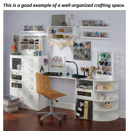 Free up the space in your craft room for actual crafting! Tips on how to tackle crafting clutter and clear your mind.
