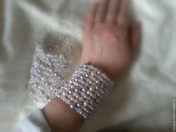 Купить Парные браслеты. - белый, опаловый, белый опал, браслет, парные браслеты, Сваровски