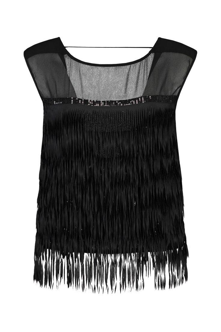 Deze top van Patrizia Pepe is 100% polyester. De fit is normaal met rechte lijn.Er zitten zwarte pailletten onder de zwarte franjes. Patrizia Pepe Top Franje 2C0889 A1XN Zwart