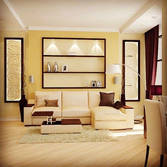 Один из новых проектов. Монотонный золотистый цвет стен разбавляется контрастными аксессуарами. #interiordesign #interior #design #livingroom #дизайнинтерьера #интерьер #дизайн #гостиная