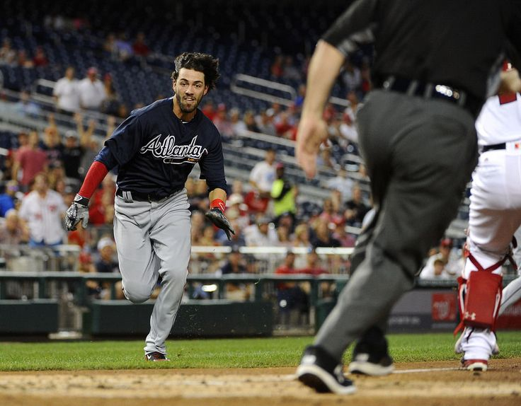 Atlanta Braves Shortstop Dansby Swanson Runs Home Scoring An Inside The Park Run Against Washington Nationals During Second Inning At