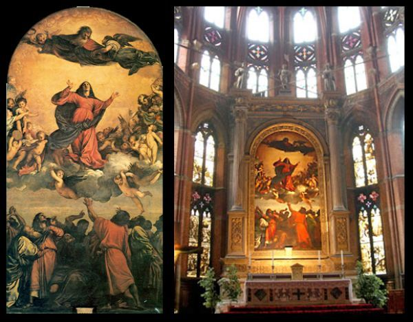 Titian's Assumption of the Virgin - the high altar at Santa Maria Gloriosa dei Frari in Venice - through the transept, you see the painting, integrated with the architectural.  Uses the structural elevation to enhance the upward sweep.  Note the triangle of large figures in red in the composition.  Note also the circle of warmth which radiates and resounds.  Note how similar it is to Geertgen's Madonna and Grunewald's Resurrection