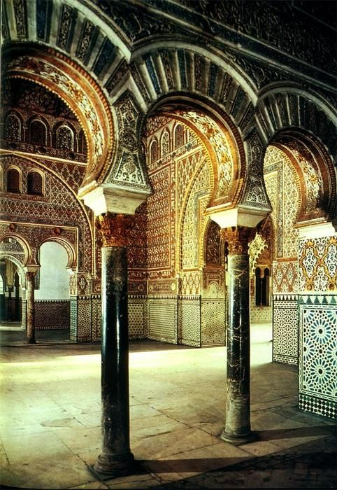 Interior of the Alcazar of Seville, Spain - I think this is where my obsession with beautiful tile began