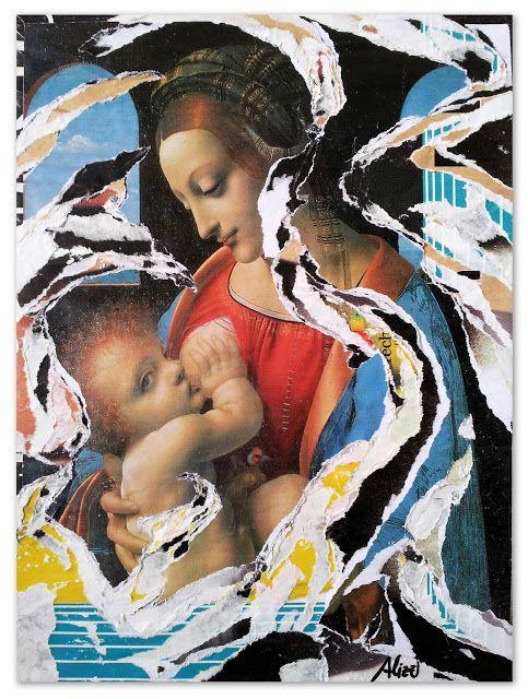 Umberto Alizzi Madonna con Bambino Décollage su tela icone arte sacra