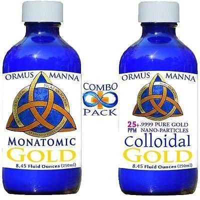 8 oz MONATOMIC GOLD + 8 oz COLLOIDAL GOLD .9999 ~ PURE Gold Nanoparticles! A+