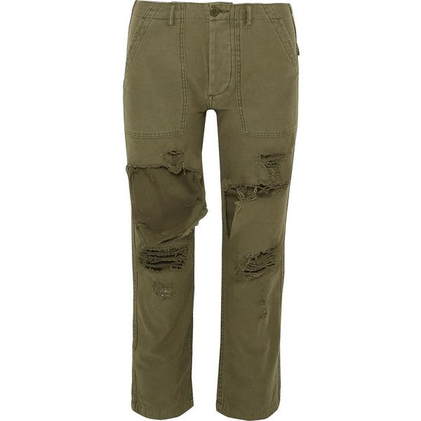 R13 Bowie cropped distressed cotton-twill straight-leg pants (555 CAD) ❤ liked on Polyvore featuring pants, capris, army green, brown trousers, green camo pants, brown pants, military green pants and utility pants
