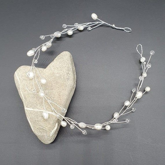 Haarschmuck Susswasserperlen Echte Perlen Kristall Pelren Kopfschmuck Haarreif Kommunion Hochzeit Braut Brautschmuck Etsy Earrings Etsy Jewelry Bridal Jewelry