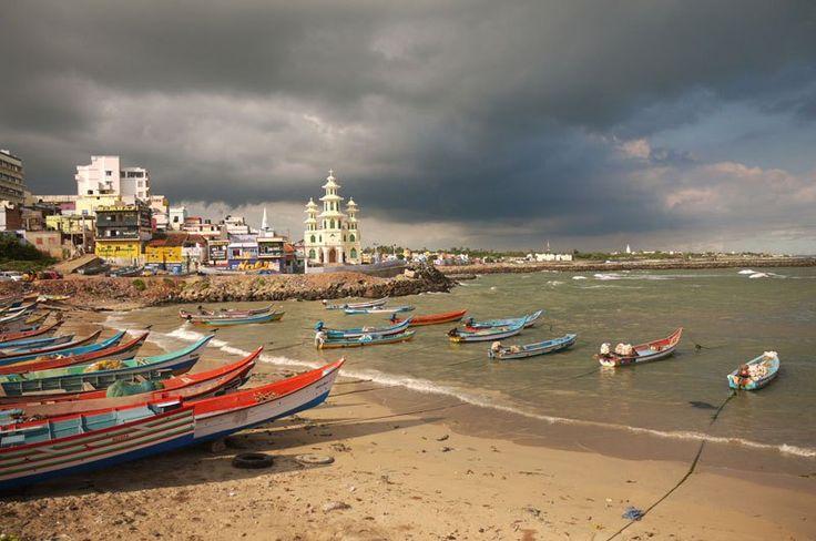 Fishing boats under an angry sky, Kanyakumari, India