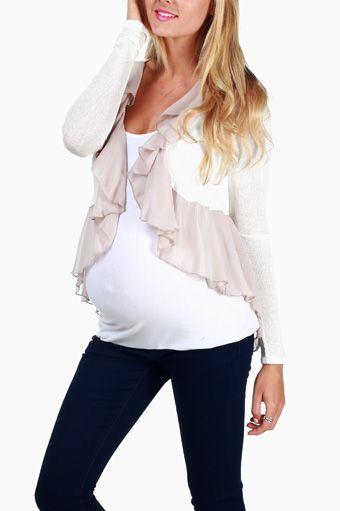 Cream Flowy Maternity Cardigan