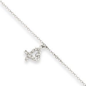 Genuine .925 Sterling Silver 10 +1in ext Hanging CZ Heart Anklet. 100% Satisfaction Guaranteed. Mireval. $24.95