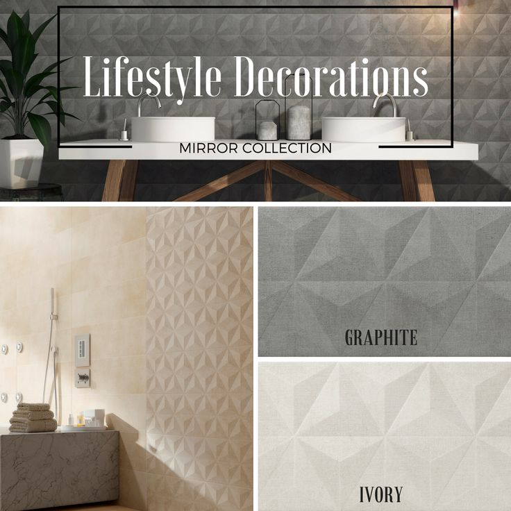 The Mirror tile collection is a stunning piece of design. Soft, matte, structured, and textured they will add a certain depth to any room. #lifestyledecorations #decorativetiles #decortiles #featuretiles #decoration #interiordesign #style #trends #walltiles #kitchentiles #bathroomtiles #europeantiles #comtemporarytiles #design #structuredtiles #3Dtiles #decor #tileart #mosaictiles