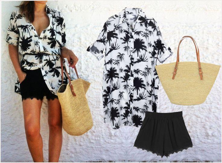 Shirt dress, shorts & handmade straw bag by Reef Code