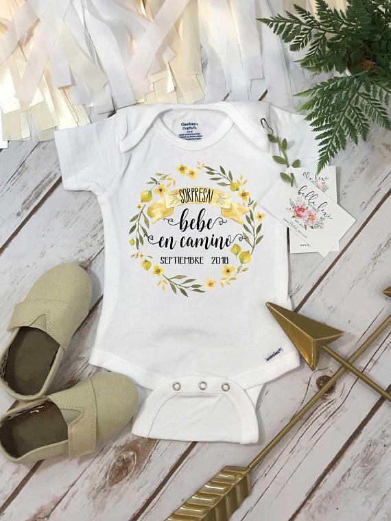 Mameluco Anuncio de Embarazo Baby Announcement in Spanish Spanish Pregnancy Announcement Baby Shower Spanish Bebe En Camino