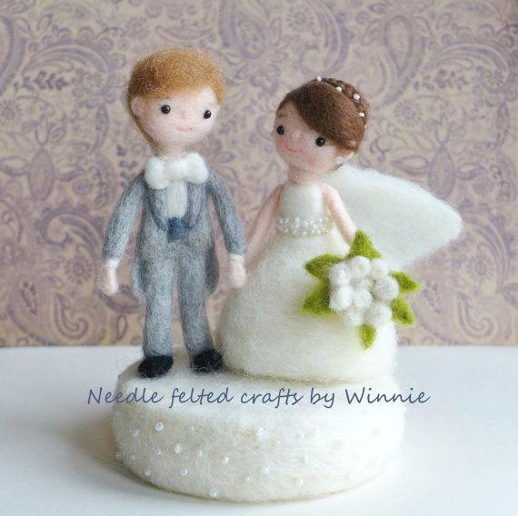 Needle felted wedding dolls with base handmade by FunFeltByWinnie