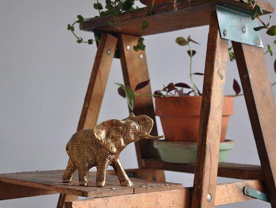 Vintage Brass Elephant Paper Weight // Knick Knack Book Shelf