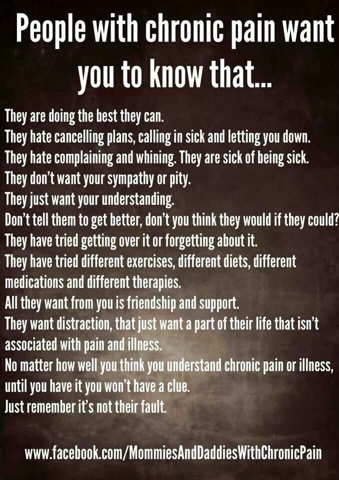 People with chronic pain want you to know...
